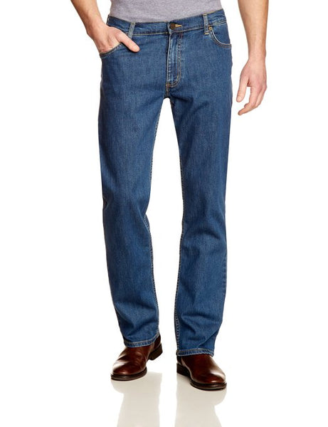 Mens Lee Brooklyn Regular Fit Comfort Leg Zip Fly Stonewash Jeans
