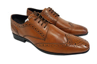Men's Thomas Catesby PO743 brogues Leather Formal Lace up pointy Shoes Tan