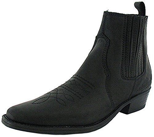 New Mens/Gents BLACK Wrangler Leather Upper Cowboy Boots, Point Toes - black - UK SIZES 7-12