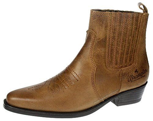New Mens/Gents Mid Brown Wrangler Texas Leather Upper Cowboy Boots, Point Toes