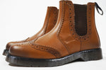 Mens Catesby Pull On Dealer Chelsea Leather Brogues Boots Sizes 7 to 12
