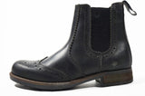 Mens Catesby Pull On Dealer Chelsea Leather Brogues Boots Sizes Washed black