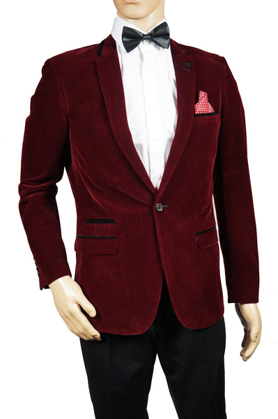 Mens Blazer Marc Darcy Coat Dinner Suit Jacket Formal Designer Wine Velvet