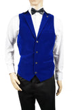Mens Waistcoat Marc Darcy Vest Formal Velvet Collar Casino Royal Blue All Sizes