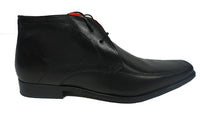 Red Tape Bartley Black Lace Up Mens Leather Boots with Pointy Toe