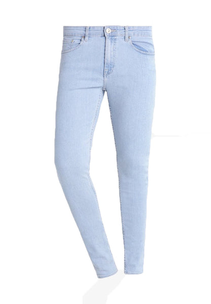 Mens New Branded Super Skinny Fit  Stretch Light Blue Wash Biker Look Jeans