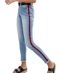 High Rise Womens Girls Skinny Ankle Grazer Bleach Jeans with Side Stripe