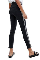 High Rise Womens Girls Skinny Ankle Grazer Black Jeans with Side Stripe