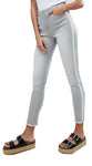 High Rise Womens Girls Skinny Ankle Grazer Washed Grey Jeans with Side Stripe