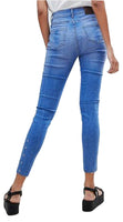High Rise Womens Girls Blue Skinny Ankle Grazer Jeans With Eyelets