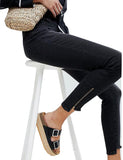 High Rise Womens Girls Skinny Jeans Black With Zipped Step Hem