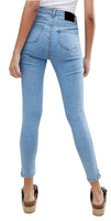 High Rise Womens Girls Skinny Jeans Bleach With Zipped Step Hem