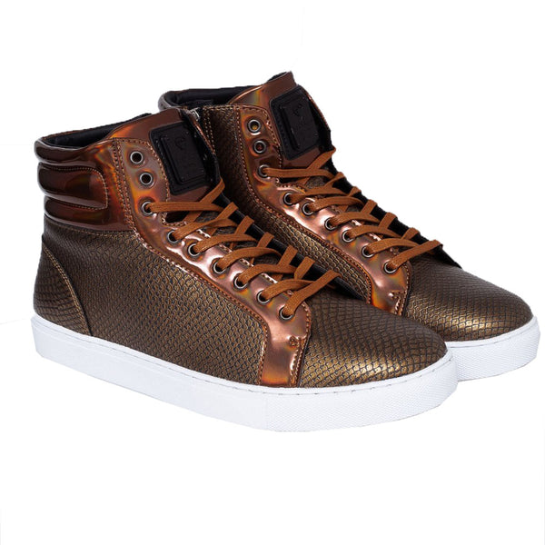 Born Rich Ecdysis Mens PU Leather Hi-Tops Gold