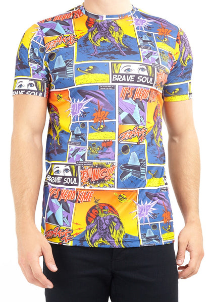 Brave Soul Mens Comic Book All Over Print T shirt