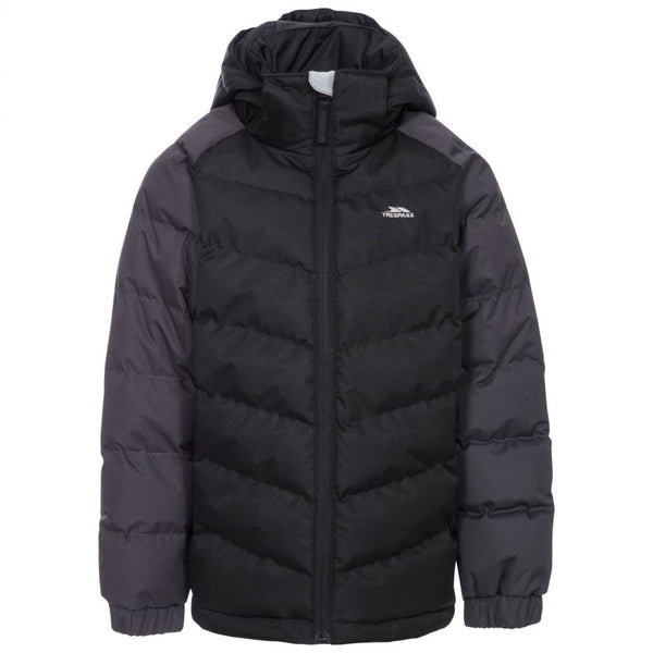 Trespass Boys Sidespin Padded Casual Puffer Jacket Black