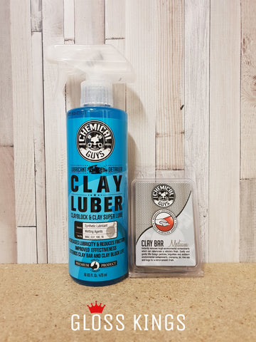 Chemical Guys 100 Gram Medium Grey Clay Bar & Clay Luber 16oz - GlossKings