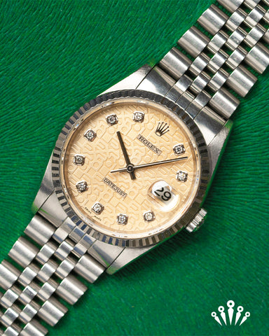 Rolex, Datejust, Jubilee dial, diamond dot jubilee bracelet, Pride and Pinion
