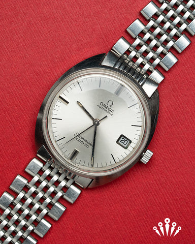 Omega Seamaster, Stainless Steel, Silver Dial, Steel Mesh bracelet, date, vintage, Pride & Pinion