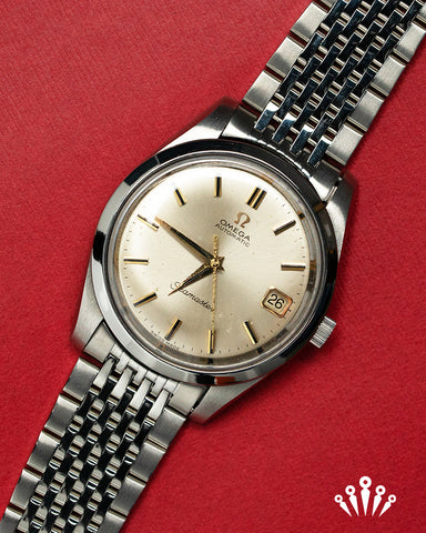 Omega Seamaster, Stainless Steel, Gold Dial, date, vinatge, Pride & Pinion