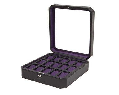 Windsor 15piece Watch Box Black & Purple Wolf watchbox