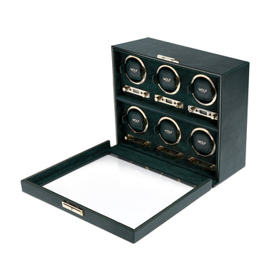 British Racing Green 6 Piece Watch Winder