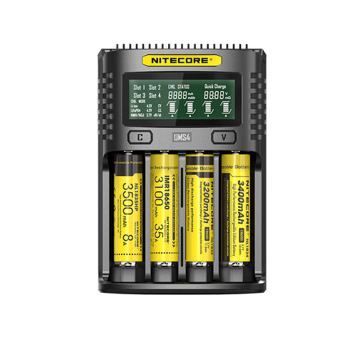 Nitecore UMS4 4-slot Quick Charger with LCD Screen