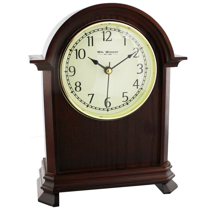 Wm.Widdop Broken Arch Dark Wood Mantel Clock