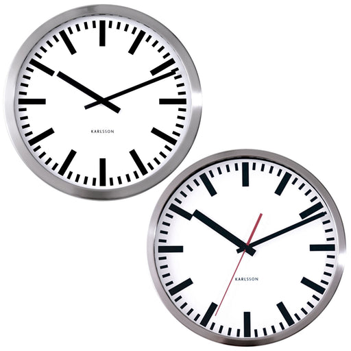 Karlsson Station Polished Steel 50cm Wall Clock