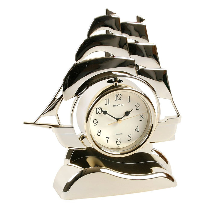 Rhythm Ship Pendulum Gilt Mantel Clock