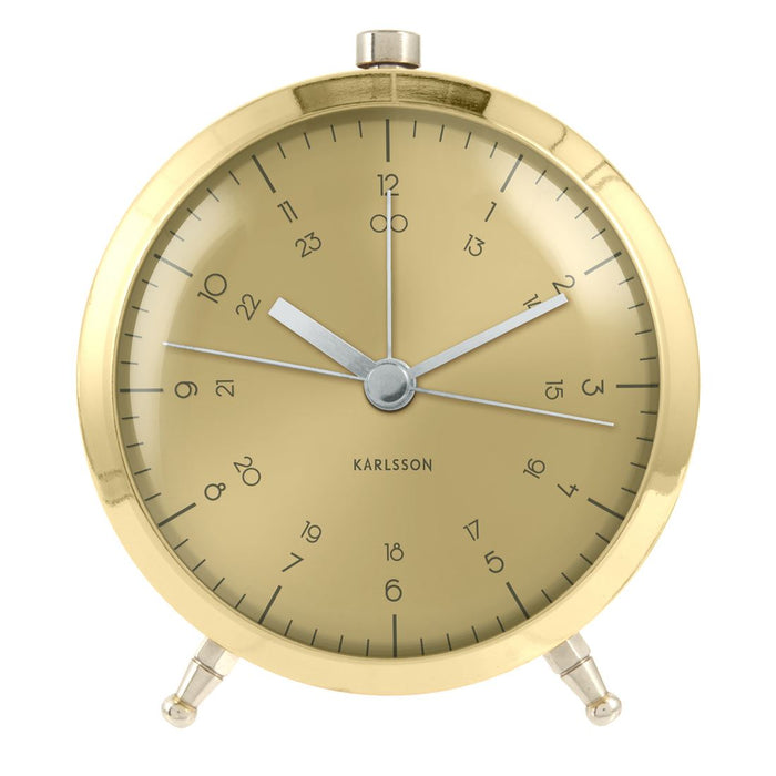 Karlsson Button Brass Alarm Clock