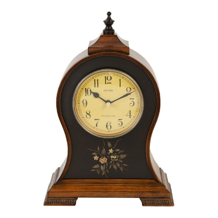 Rhythm Antique Style Wooden Chiming Mantel Clock