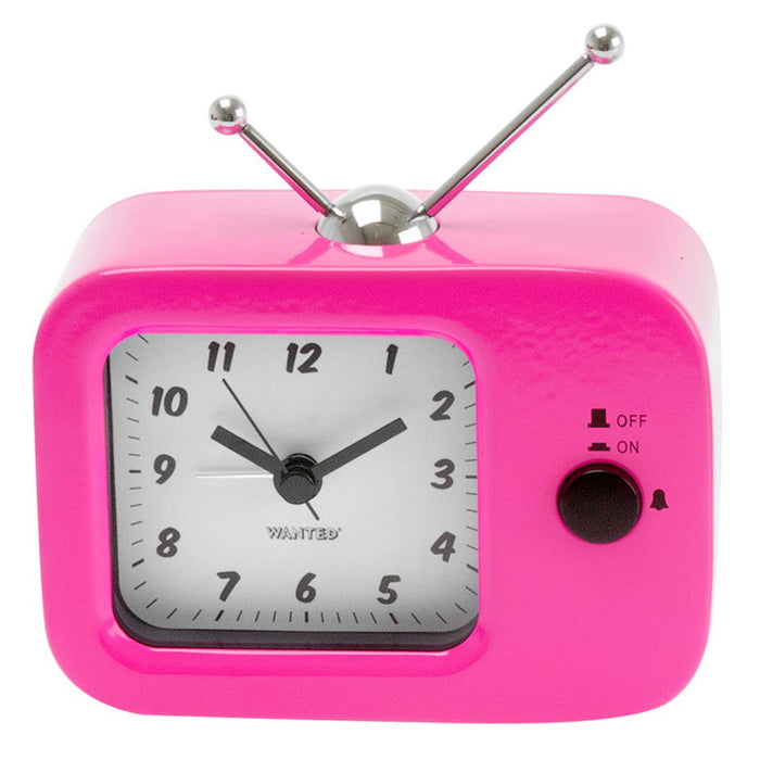 Silly Gifts Retro Style Television / TV Pink Metal Alarm Clock