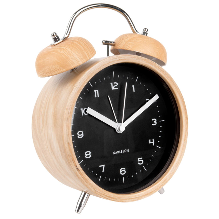Karlsson Classic XL Bell Wood Dial Silent Alarm Clock