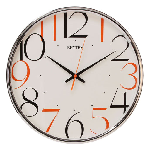 Rhythm Plastic Round with Coloured Numerals Wall Clock
