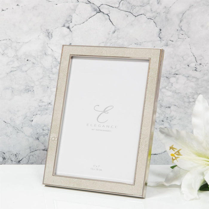 Elegance By Impressions Nickel Plated Cream Faux Shagreen Picture Frame