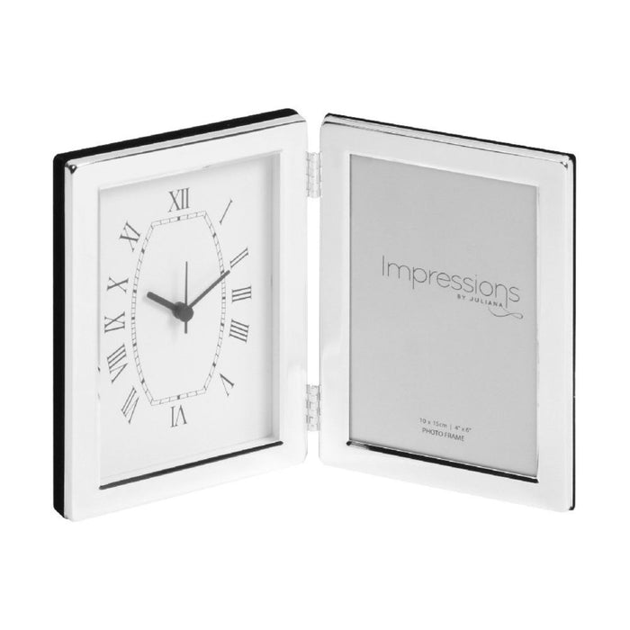 Impressions Silverplated Clock & Photo Frame