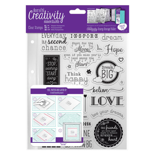 Docrafts A5 Clear Stamp Set 31 Pieces - Inspirational Sentiments