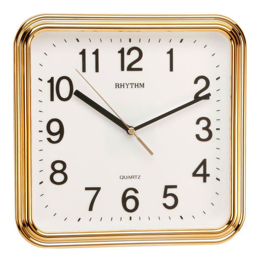Rhythm Plastic Square 3D Numerals Gold Wall Clock