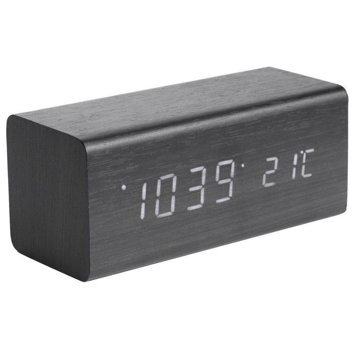 Karlsson Block LED Wood Veneer Alarm Clock