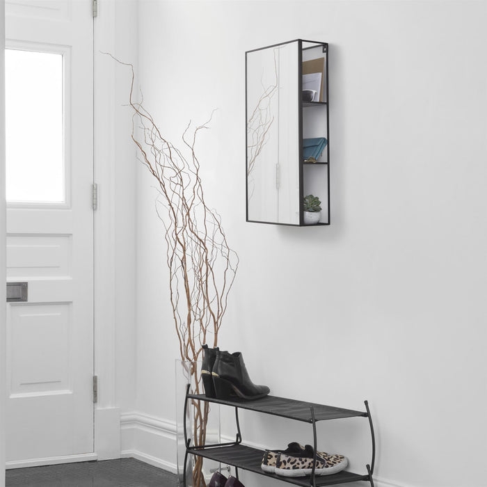 Umbra Cubiko/Cirko Black Mirror with Shelves