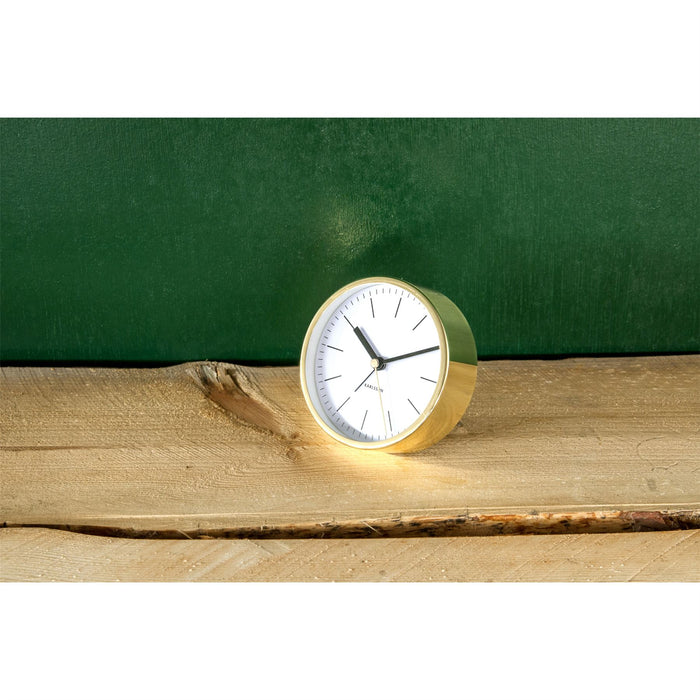 Karlsson Minimal Face Copper Surround 10cm Silent Alarm Clock
