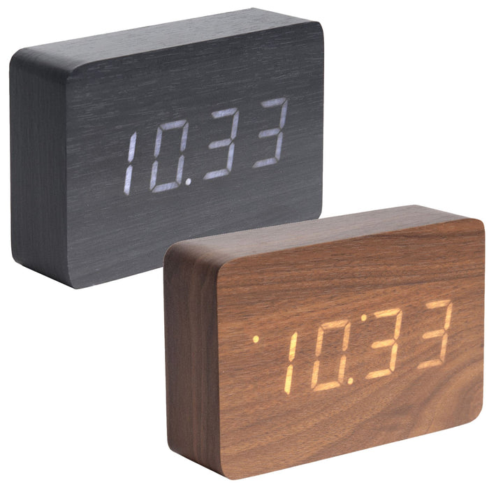 Karlsson Square Wood Veneer Alarm Clock