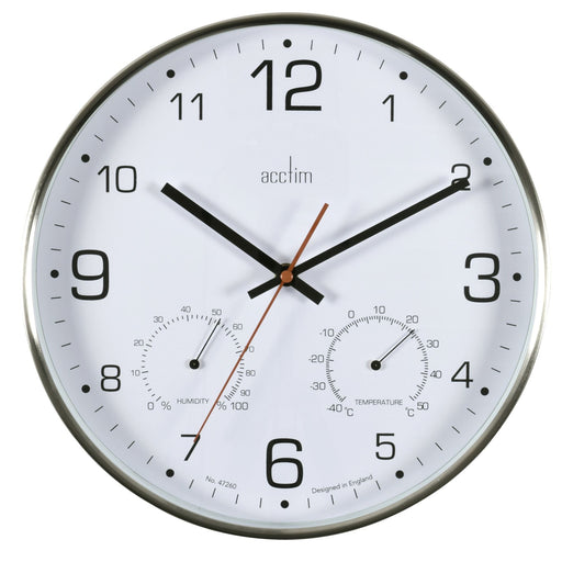 Acctim Komfort Brushed Steel Silent 30.5cm Wall Clock