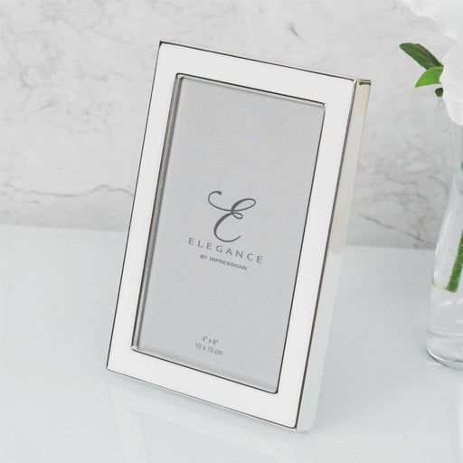Elegance By Impressions Silver Plated & White Epoxy Premium Photo Frame with Gift Box