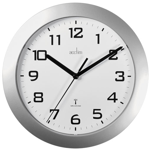 Acctim Peron Silver Radio Controlled 23cm Wall Clock