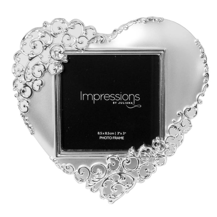 "Impressions Silver Plated Ornate Heart 3"" x 3"" Photo Frame"