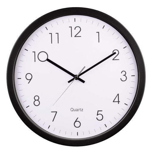 Hama Black 35cm Clear Dial Quartz Wall Clock