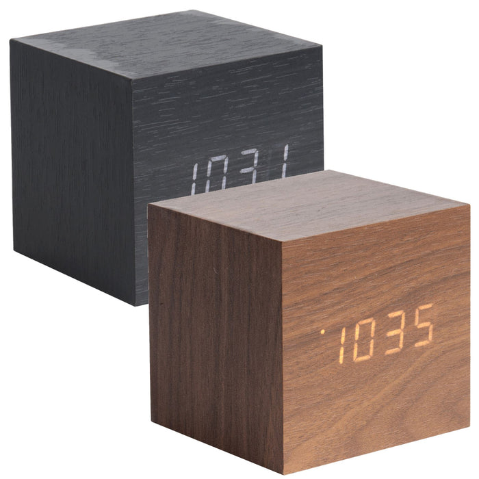 Karlsson Mini Cube Wood Veneer Alarm Clock