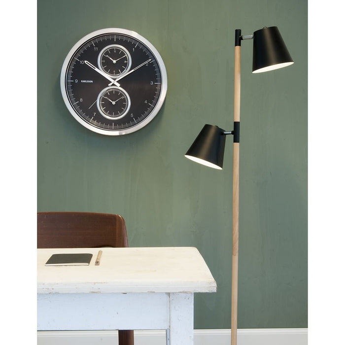 Karlsson 60cm Multiple Time Brushed Aluminium Wall Clock