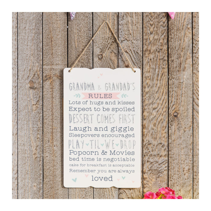 Love Life Rules Hanging Plaque
